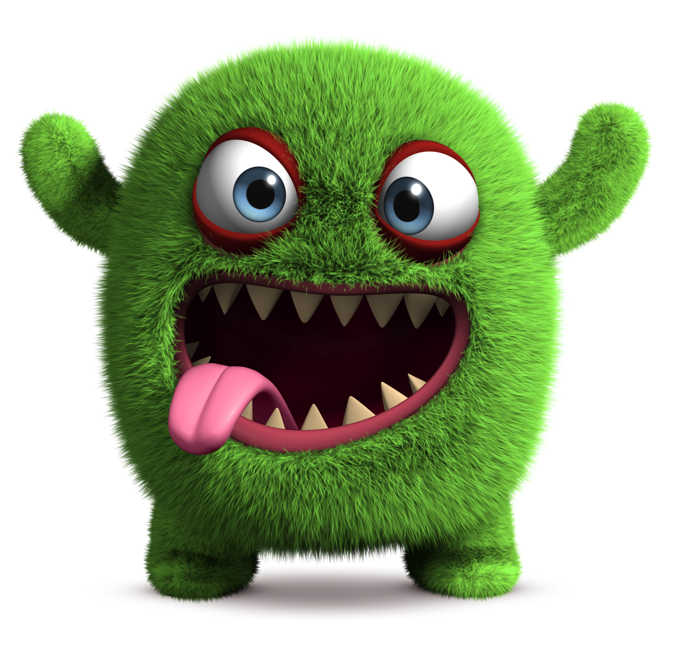 3 d cartoon green cute furry monster